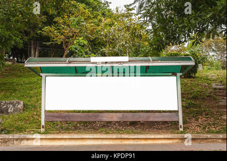 Blank advertising billboard isolated white background - Stock Photo