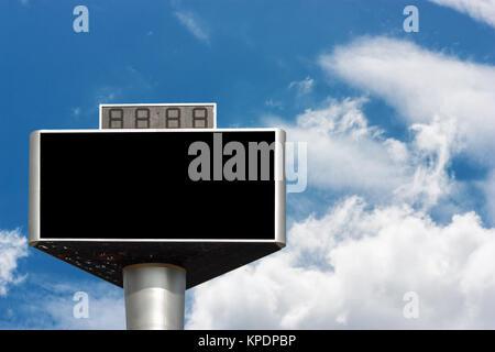 Blank advertising billboard isolated on sky - Stock Photo