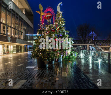 Christmas street lights and decorations in London - Stock Photo