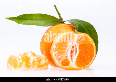 some fruits of clementine isolated on white background - Stock Photo