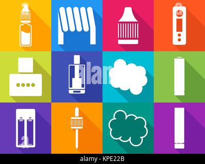 Vaping icons with long shadows - Stock Photo
