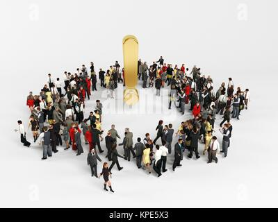 3d characters around a golden exclamation mark - Stock Photo