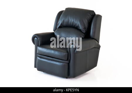 Black reclining leather chair on white background - Stock Photo