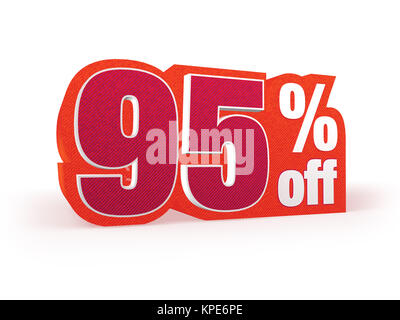 Discount price sign in red wool look, isolated on white background, 3D rendering - Stock Photo