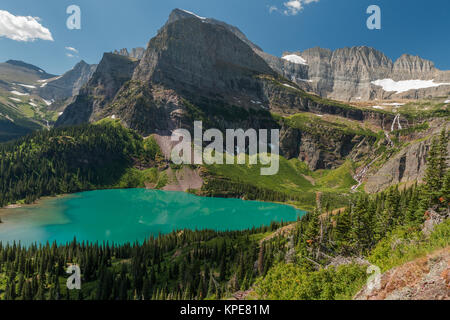 Grinnell Lake and the Angel Wing in Glacier National Park, Montana - Stock Photo