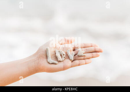 Word love made of shells on woman hand - Stock Photo