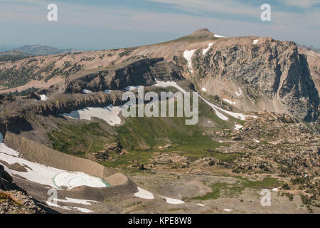 Table Mountain and Schoolroom Glacier from The Wall in Grand Teton National Park, Wyoming - Stock Photo