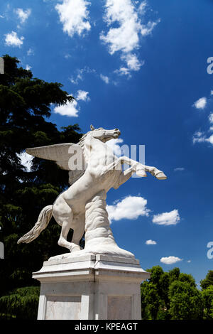 Antique Pegasus sculpture in Boboli Gardens  in Florence, Italy - Stock Photo