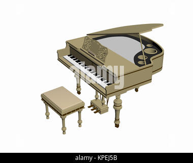 piano opened exempted with stool - Stock Photo