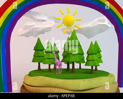 3d giraffe inside a low-poly green scene - Stock Photo