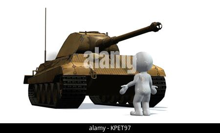 3d people in front of a main battle tank - isolated on white - Stock Photo