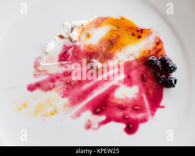 finished red fruits on cheese cake - Stock Photo