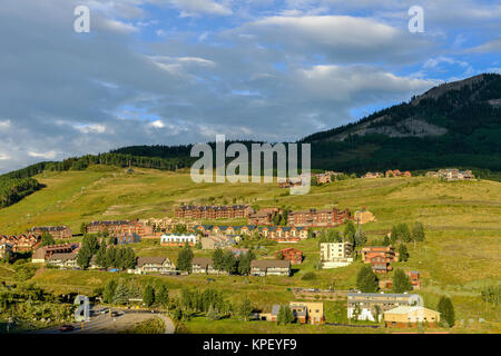Mountain Resort - Crested Butte - Evening view of a mountain ski resort - Crested Butte, Colorado, USA. - Stock Photo