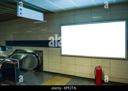 blank horizontal big poster in public place billboard mockup near to escalator in subway
