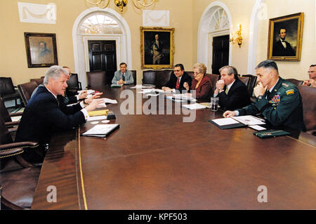 ... United States President Bill Clinton Meets With His National Security  Team In The Cabinet Room Of