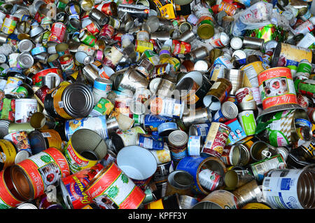 Bin full of empty tin cans for recycling in Lake Pleasant, NY USA - Stock Photo