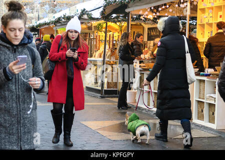 Holiday Market at Columbus Circle, NYC, USA - Stock Photo