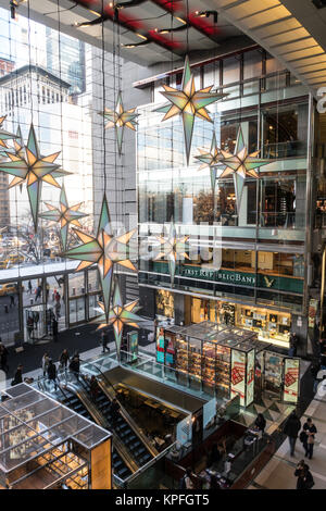 Time Warner Center Decorated for the Holiday Season, Columbus Circle, NYC, USA - Stock Photo