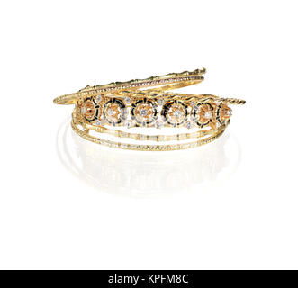 Gold Diamond Vintage bangle bracelets - Stock Photo