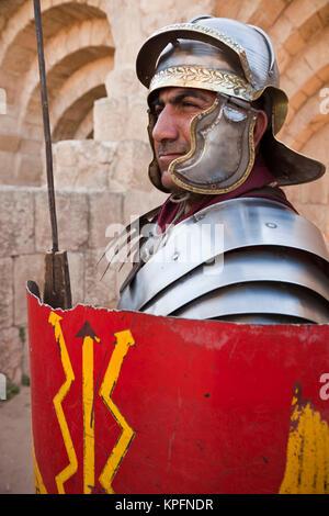 Jordan, Jerash, Roman Army and Chariot Experience, Roman Centurion, R, MR_JOR_11_001(MR) - Stock Photo