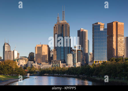 Australia, Victoria, Melbourne, skyline along Yarra River, morning - Stock Photo