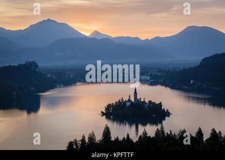 Lake Bled at dawn, Slovenia - Stock Photo