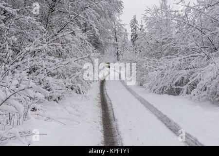 snowfall in geretsried - Stock Photo