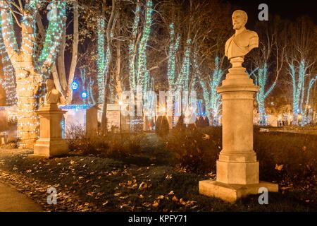 Night view at advent time in Zagreb city, Zrinjevac public park scenery. - Stock Photo