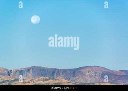 Moon Over Bighorn Mountains - Stock Photo