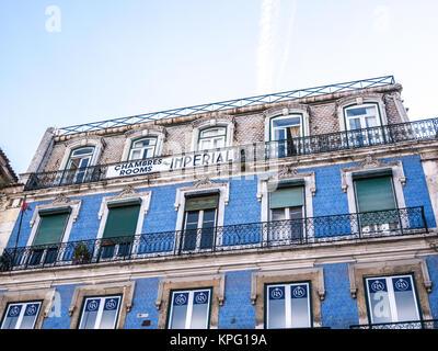 Lisbon, Portugal - April 25, 2014: Beautiful classical portuguese building in downtown Lisbon, Portugal - Stock Photo
