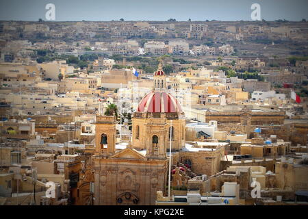 View over the city of Victoria or Rabat at Gozo, the neighboring island of Malta - Stock Photo
