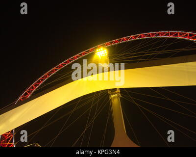 The Commercial Building and the Ferris of Tianjin Eye.Travel in Tianjin City, China, October 19th, Year 2017 - Stock Photo