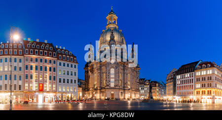 Frauenkirche at night in Dresden, Germany - Stock Photo