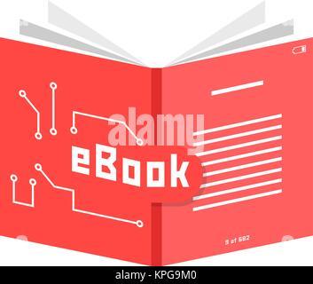 red ebook icon - Stock Photo