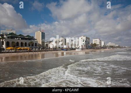 Tunisia, Tunisian Central Coast, Sousse, hotels along Boujaffar Beach - Stock Photo