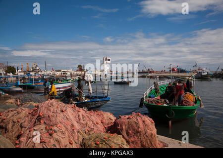 Tunisia, Tunisian Central Coast, Sousse, port, fishing boats - Stock Photo