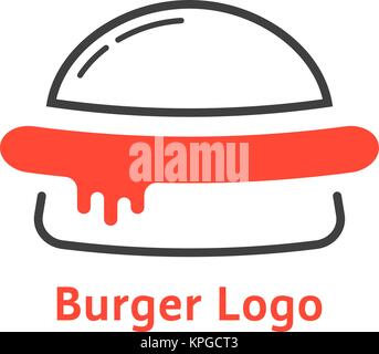 thin line burger logo with red sauce - Stock Photo