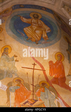 France, Corsica, Cargese, Eglise Catholique de Rite Grec, Greek church, - Stock Photo