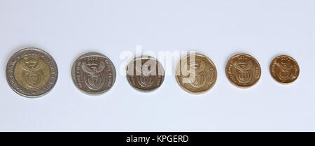 South African currency coins, South Africa - Stock Photo