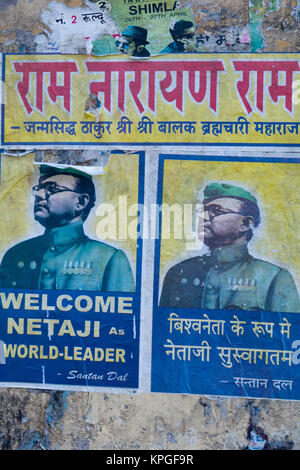 Poster on public wall of Indian nationalist and hero Netaji Subhas Chandra Bose, Prime Minister of the Provisional - Stock Photo