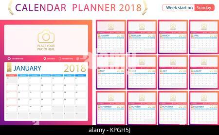 Vector Of Calendar 2018 Year 12 Month Calendar With Modern Stock