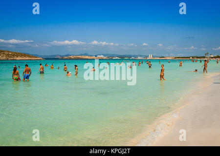 luxury yacht in turquoise beach of formentera illetes august 21,2013 - Stock Photo