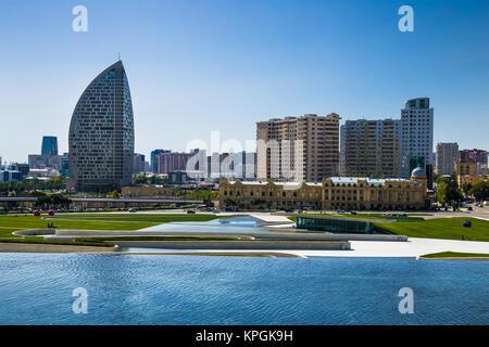 BAKU, AZERBAIJAN-OCT 4, 2016:Beautiful fountain at Heydar Aliyev Center in Baku on Oct 4, 2016. The Republic of - Stock Photo