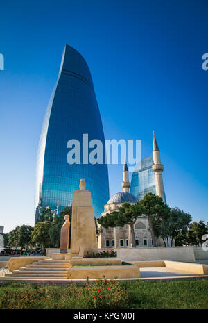 BAKU, AZERBAIJAN - OCT 4, 2016: Mosque of the Martyrs (Sehidler Mescidi Mosque, Turkish Mosque) with the Flame Towers - Stock Photo