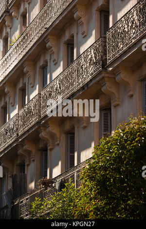 France, Languedoc-Roussillon, Herault Department, Montpellier, balconies on Rue Foch - Stock Photo
