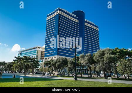 AZERBAIJAN, BAKU, OCT 3, 2016: Freedom Square on the background of the Hilton Hotel on Oct 3, 2016, in Baku. Azerbeijan. - Stock Photo
