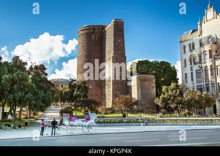 BAKU, AZERBAIJAN -OCT 3, 2016: Maiden Tower in the old town of Baku, Azerbaijan, on Oct 3, 2016. The tower is on - Stock Photo