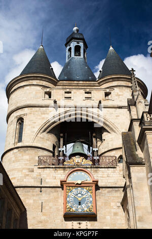 France, Aquitaine Region, Gironde Department, Bordeaux, Porte de la Grosse Cloche, 15th century city gate - Stock Photo