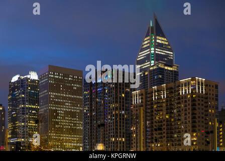 Downtown architecture at night, Charlotte, North Carolina, USA. - Stock Photo