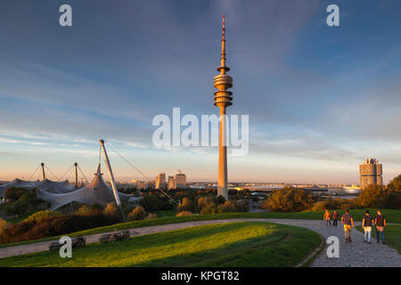 Germany, Bavaria, Munich, Olympic Park, Olympia Tower, sunset, fall - Stock Photo